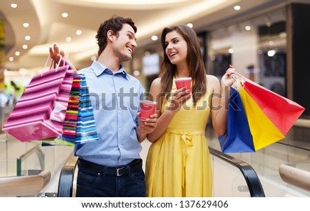 Date in the shopping mall - stock photo