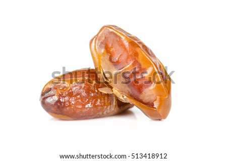 date palm dry fruit isolated on white background