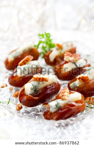 dates stuffed with blue cheese for holiday