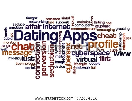Dating Apps, word cloud concept on white background.