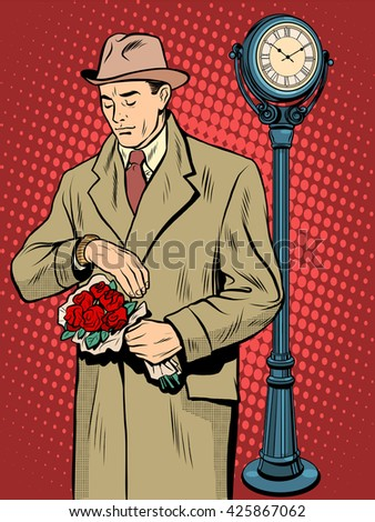 Dating love time watch man - stock photo