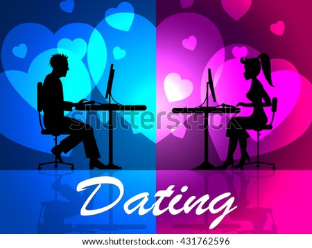 Dating Online Representing Web Site And Sweethearts - stock photo