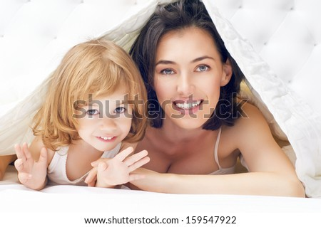 daughter and mother are happy together