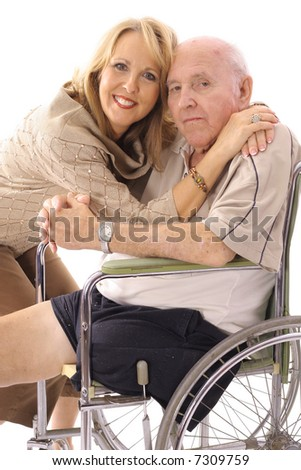 daughter hugging her father - stock photo