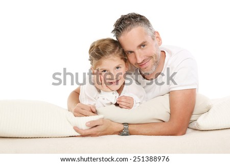 daughter in father - stock photo