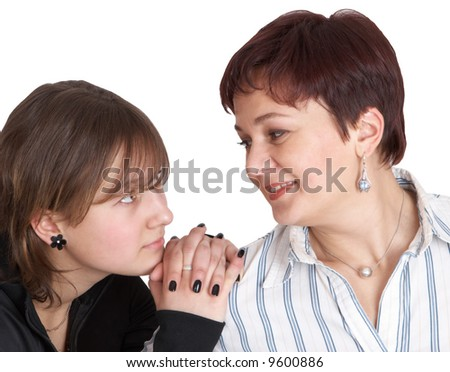 daughter looks at mother - stock photo