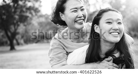Daughter Mother Adorable Affection Casual Life Concept