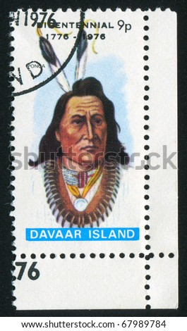 DAVAAR ISLAND - CIRCA 1976: stamp printed by Davaar Island, shows runner, circa 1976 - stock photo