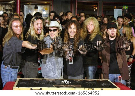 Dave Murray, Nicko McBrain, Bruce Dickinson, Steve Harris, Janick Gers and Adrian Smith at the induction ceremony for Hollywood RockWalk Induction of Iron Maiden, The Guitar Center, LA, Aug 19, 2005