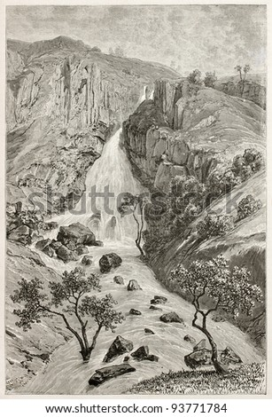 Davezout waterfalls old view, Abyssinia. Created by Ciceri after Lejean, published on Le Tour du Monde, Paris, 1867 - stock photo