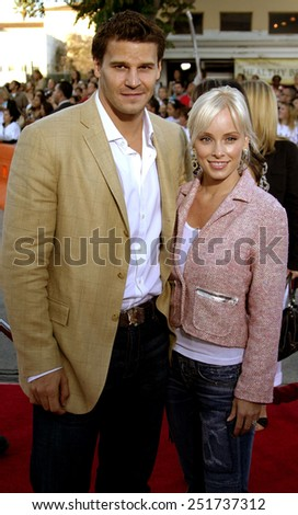 "David Boreanaz and wife Jaime Bergman attend the Los Angeles Premiere of ""Mr. & Mrs. Smith"" held at the Mann's Village Theater in Westwood, California on June 7, 2005."