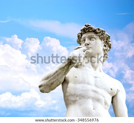 David statue against blue sky, Florence, Italy - stock photo