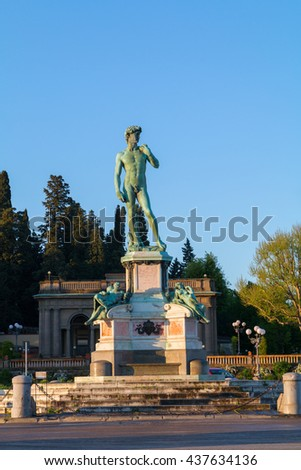 David Statue at Michelangelo Square in Giuseppe Poggi on hillside in Florence Italy,Europe - stock photo