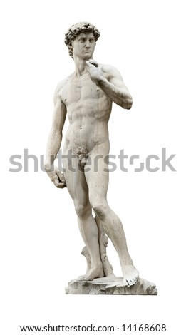David statue by ancient sculptor Michelangelo isolated on white. This is copy installed on Piazza Della Signoria nearby Palazzo Vecchio in Florence, Italy.