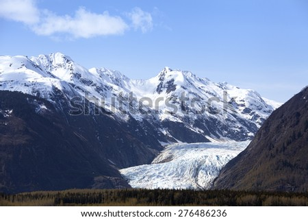 Davidson Glacier near Glacier Point in Southeast Alaska in spring. - stock photo