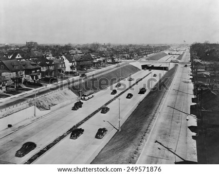 Davison Highway, built in 1941-42, was a depressed six-lane, limited-access highway connecting Detroit and Highland Park. - stock photo