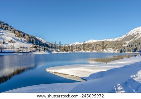 Davos lake in Switzerland - stock photo