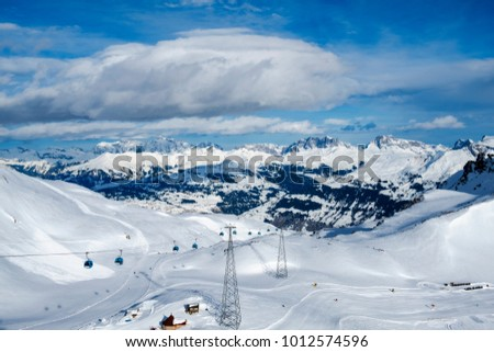 Davos mountains skiing resort switzerland from above