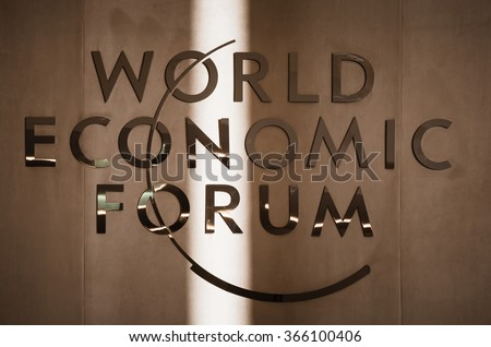 DAVOS, SWITZERLAND - Jan 21, 2016: Emblem of the World Economic Forum in Davos (Switzerland) - stock photo