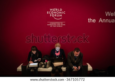 DAVOS, SWITZERLAND - Jan 22, 2016: Working moments during World Economic Forum Annual Meeting 2016 in Davos, Switzerland - stock photo