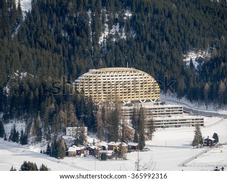 DAVOS, SWITZERLAND - JANUARY 12, View of the Luxury hotel Intercontinental in Davos, Switzerland, 2015 - stock photo