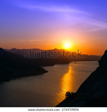 Dawn at Black sea. Morning seascape with mountains. Ukraine. Crimea - stock photo