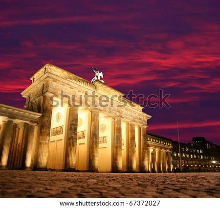 Dawn at Brandenburg Gate in Berlin, Germany - stock photo
