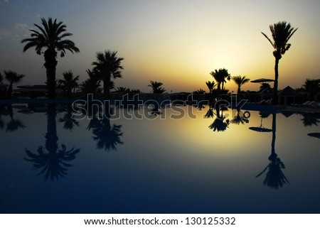 dawn at early morning over peaceful still swimming pool with palm silhouettes in summer resort in Tunisia - stock photo