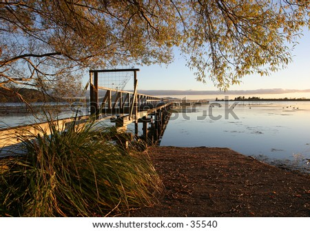 Dawn at Lake Taupo, New Zealand - stock photo