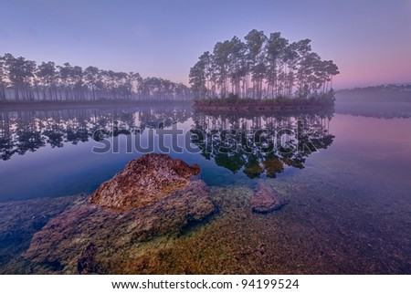 Dawn at Long Pine Key Lake in Everglades National Park near Homestead, Florida