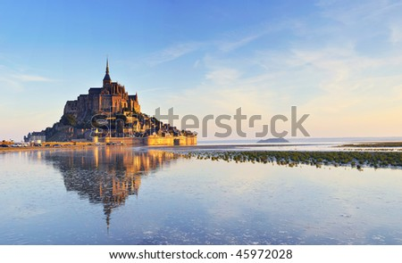 Dawn at Mont Saint Michel. France. Panorama - stock photo