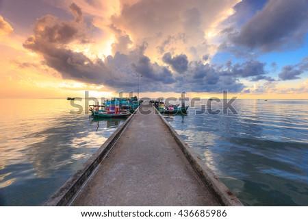 Dawn at pier in fishing village - Phu Quoc island, Vietnam - stock photo