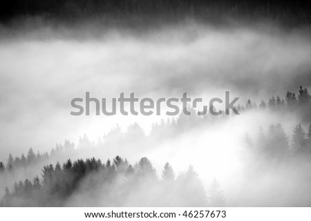 dawn fog in the mountains - stock photo