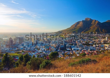 Dawn in Cape Town city (on the background of the Table Mountains) - stock photo