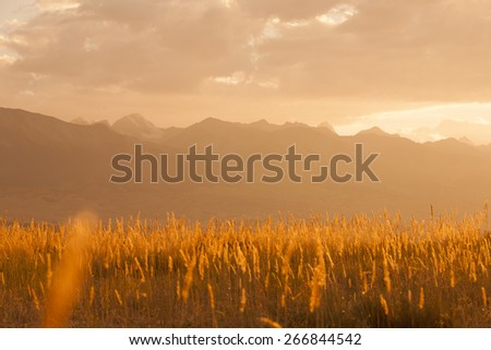 Dawn in mountains - stock photo