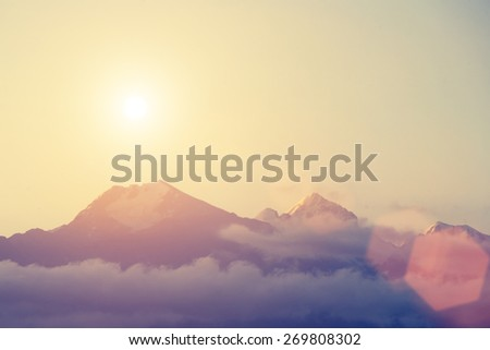 Dawn in mountains - instagram style - stock photo