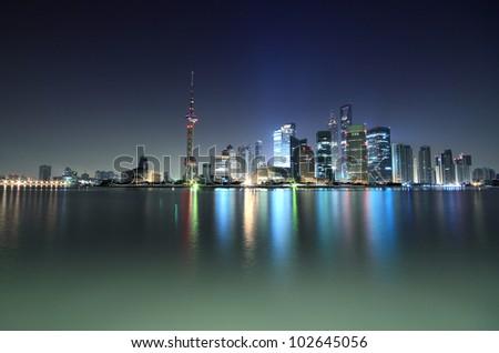 Dawn of the Bund in Shanghai the modern architecture city skyline - stock photo
