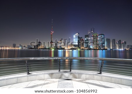 Dawn of the Bund in Shanghai the modern architecture city skyline in  the Far East - stock photo