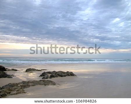 Dawn on Currumbin Beach 1 - stock photo