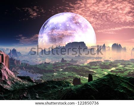 Dawn on Idyllic Earth-like Planet - stock photo