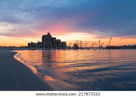 Dawn on the Coast.  Far Rockaway. Long Island. New York.  - stock photo
