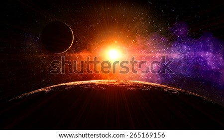 Dawn on the moon with no atmosphere on the orbit around gas giant extrasolar planet orbiting a Sun-like star - stock photo