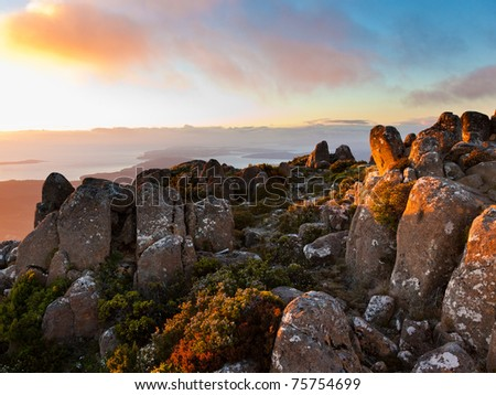 Dawn on the summit of Mount Wellington, Tasmania, Australia - stock photo