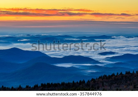 Dawn over the Blue Ridge Mountains of North Carolina from Black Balsam Knob - stock photo