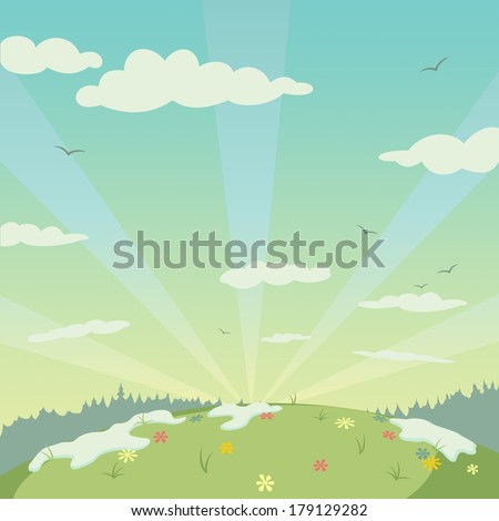 Dawn over the spring landscape illustration - stock photo