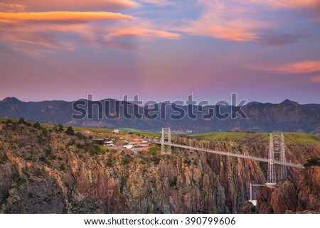 Dawn's First Light Royal Gorge Bridge - stock photo