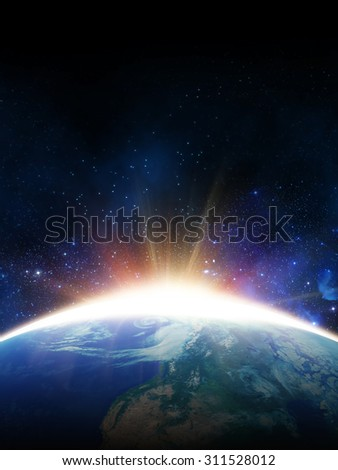 dawn sun. view from space. Elements of this image furnished by NASA - stock photo