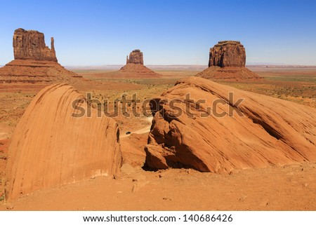 Dawn view of desert landscape - stock photo