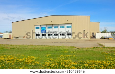 Dawson Creek, Canada - August 24, 2015 : The Northern Lights College Campus in Dawson Creek is home to the Aircraft Maintenance Engineering program, a very popular program with international students.