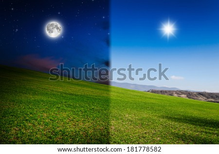 day and night - stock photo